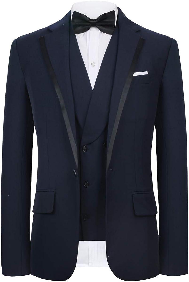 CMDC Men's New Three-Piece Contracted Style Groomsman Suit D215