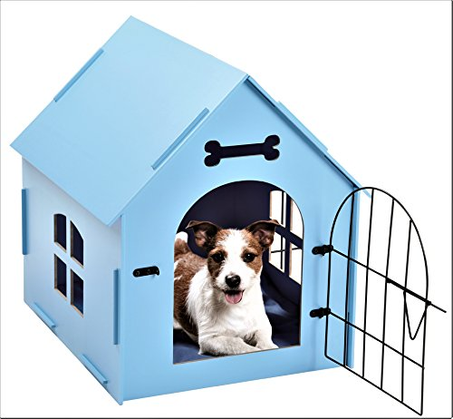Tristar Products-us Craft Wood Dog House with Door and Window, Indoor Kennel for Small Dogs, Cats with Bed Mat, (Blue)