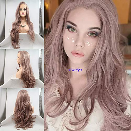 Xiweiya Ash Pink Lace Front Wig Long Wavy Mixed Color Synthetic Lace Front Wig Soft Natural Looking Side Part Hair Replacement Wigs for Women 22 Inches…