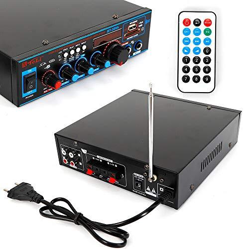 HiFi-versterker, compacte mini-hifi-versterker, bluetooth, 12 V/220 V, stereo-audioverversterker, baskanaal, audio-eindversterker, kleine versterker voor thuis en auto, 800 watt, afstandsbediening, audio-versterker