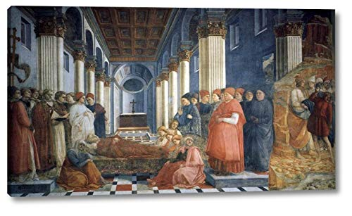 """The Funeral of St Stephen by Fra Filippo Lippi - 14"""" x 24"""" Gallery Wrap Canvas Art Print - Ready to Hang"""