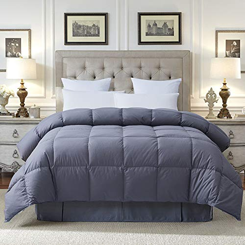 Cosybay 100% Cotton Quilted Down Comforter Grey Goose Duck Down and Feather Filling – All Season Duvet Insert or Stand-Alone – King Size (106×90 Inch)
