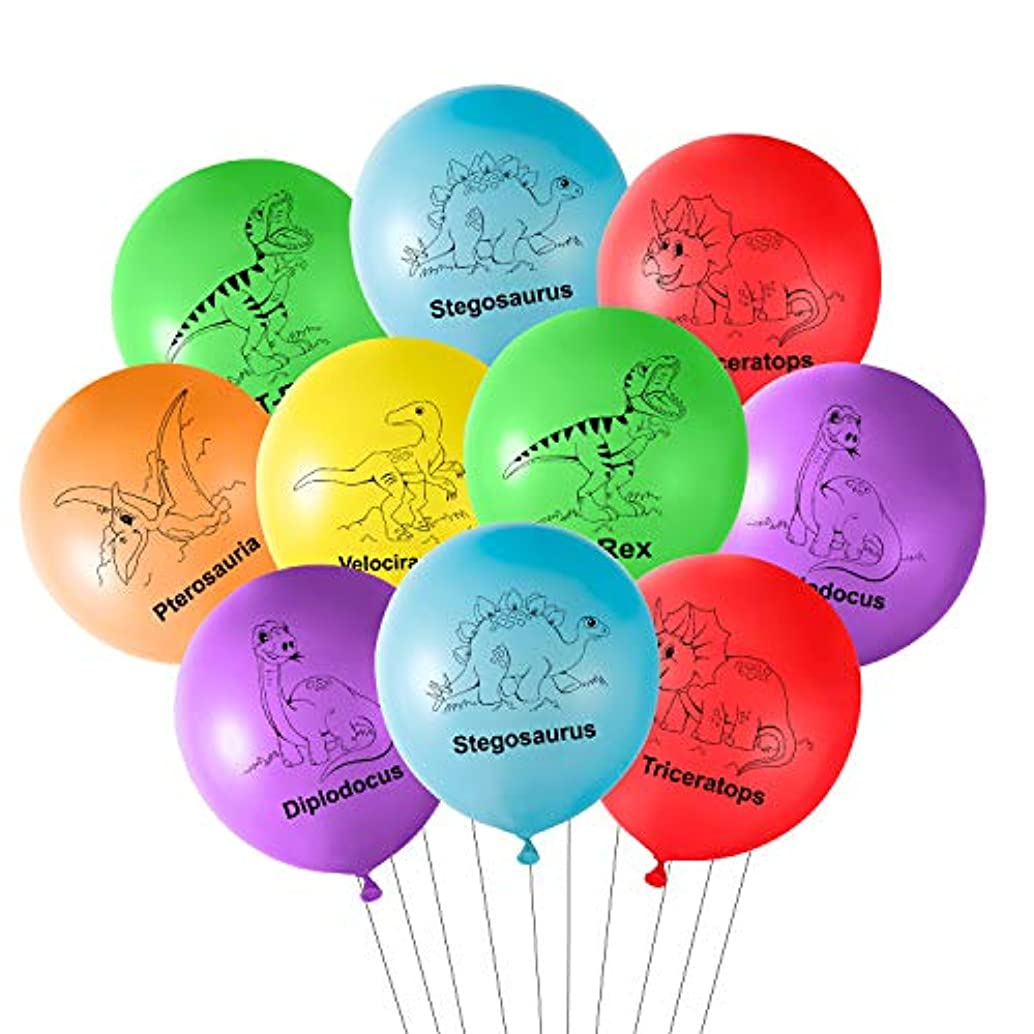 TUPARKA 12 Inches Dinosaur Latex Balloons 18 Pcs Dinosaur Birthday Balloons for Dinosaur Party Decorations