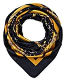 Large Square Satin Silk Like Lightweight Scarfs Hair Sleeping Wraps for Women Black Chains Pattern