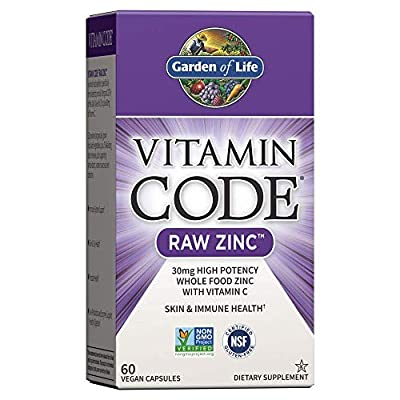Garden of Life Vitamin Code Raw Zinc, 30mg Whole Food Zinc Supplement + Vitamin C, Trace Minerals & Probiotics