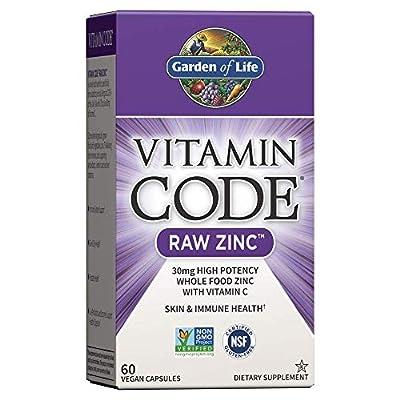 Garden of Life Vitamin Code Raw Zinc, 30mg Whole Food Zinc Supplement + Vitamin C, Trace Minerals & Probiotics