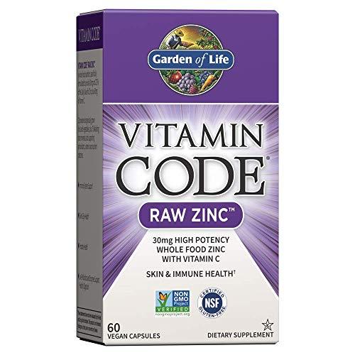 Jardín de vida–Zinc–Vitamina código Raw Zinc todo alimentos suplemento con Vitamina C, 60Cápsulas