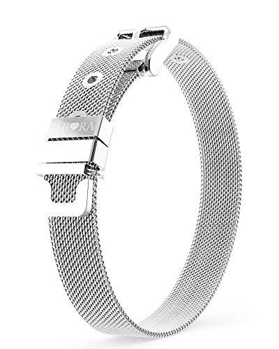 THIORA® - Mesh Armband Damen | Große Auswahl Charms | Premium Edelstahl veredelt | Charmband (Classic Silber)