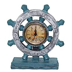 Nautical Wheel Boat Steering with Roman Numeral Time Clock Rudder Desk Clock Decor Crafts Nautical Home Decoration Vintage Gift-Navy