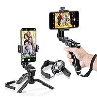 Peut contenir tous les smartphone ou phablet avec largeur entre 58mm à 105mm. Vous aide à filmer Steady Video pour Facebook en direct, un périscope, et d'autres plates-formes de diffusion en direct. Livré avec une télécommande Bluetooth. Pleine rot...