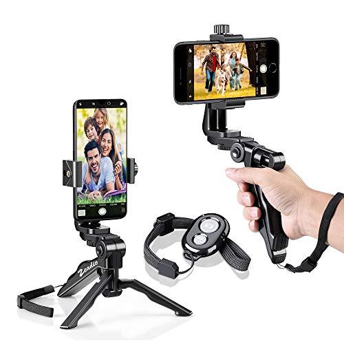 Zeadio Stabilizzatore per presa treppiede Bluetooth Mini per smartphone, treppiedi da tavolo con supporto da tavolo per iPhone e tutti i telefoni