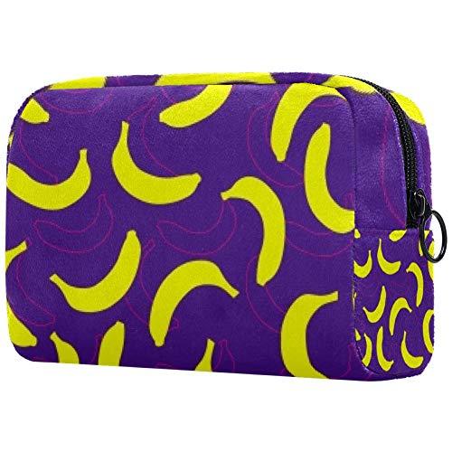Trousse de toilette portable pour femme - Pour maquillage - Organisateur de voyage banane double ombre