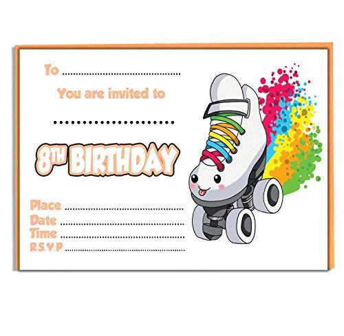 AK Giftshop Einladungen für Kinder mit Regenbogen und Rollschuh-Motiv – Geburtstag für Jungen und Mädchen – Packung mit 20 Einladungen und farbigen Umschlägen (8. Geburtstag)