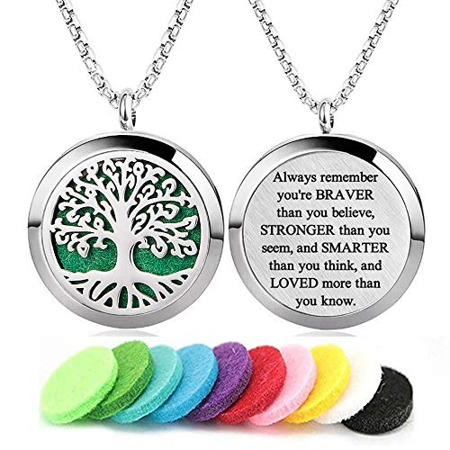 GFONDINGD Aromatherapy Essential Oil Diffuser Necklace Tree of Life Pattern Stainless Steel Locket Pendant with 24 Inch Chain