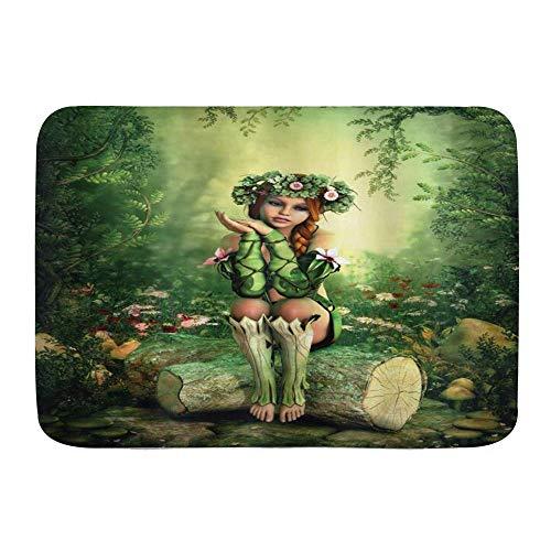 Yaoni Badematte Teppich Fairy Art Elf Mädchen mit Kranz auf dem Kopf Sitzen auf einem Baumstumpf, Plüsch Badezimmer Dekorieren Matten mit Rutschfester Rückseite,
