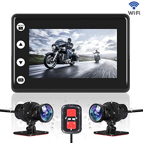 "VSYSTO Motorcycle Video Driving Recorder Dash cam Dual 2 Channels Lens Front & Rear 1080P Backup Camera with WiFi 3"" IPS Screen Full Body Waterproof Night Vision (GPS/Metal Handlebar:Optional)"