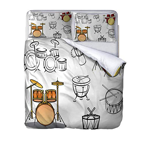 Superking duvet covers Drum kit Quilt Cover Set with Zipper 100% Polyester with 2 Envelope Closure Pillowcases 50x75cm for Children adults woman 220x260cm