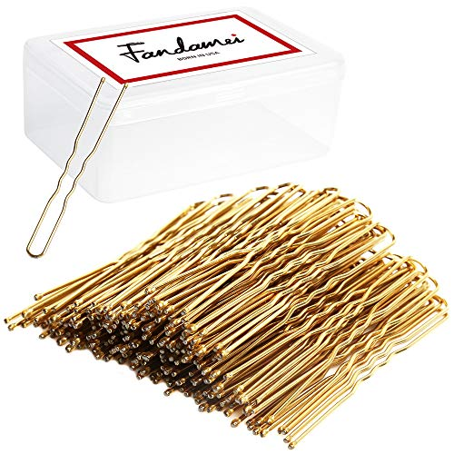 FANDAMEI U Shaped Hair Pins Bun Hair Pins for Women and Girls with Storage Box, Golden (120pcks,6 cm/2.36 Inches)