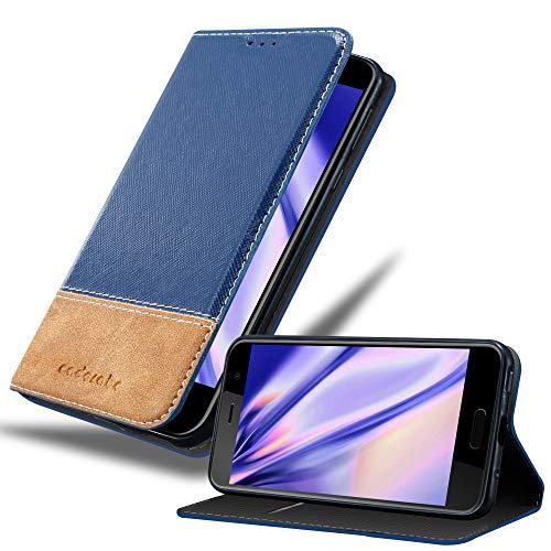 Cadorabo Hülle für HTC U Play in DUNKEL BLAU BRAUN – Handyhülle mit Magnetverschluss, Standfunktion & Kartenfach – Hülle Cover Schutzhülle Etui Tasche Book Klapp Style