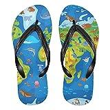 Linomo Chanclas para hombre y mujer, con diseño de mapas, para verano, para la playa, multicolor, 38/39 EU