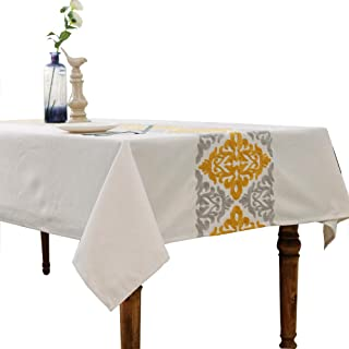 HWY 50 Cotton Linen Yellow Embroidered Tablecloths Table Cloths for Rectangle Tables Geometric Floral 60 x 84 inch 1 Piece