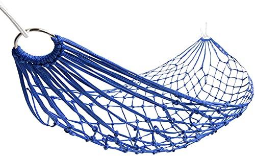 ZJDU Portátil Hamacas Hechas a Mano, Hamaca Ligera, hamacas portátiles para Interiores, al Aire Libre, Senderismo, Camping, mochilero, Comodidad de Viaje y Durabilidad/Rojo (Color : Blue)