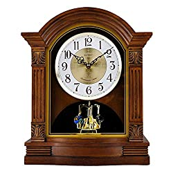 GUOLINGHUI Vintage Wooden Music Mantle Clock Hourly Music Report Time Battery Power Time Accurate Rotatable Crystal Pendulum Desktop Decoration Table Clock Easy to Install (Color : Deep Color)