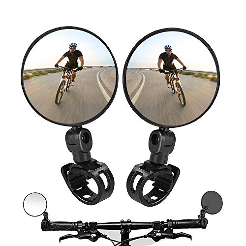2PCS Bike Mirrors,Adjustable Rotatable Handlebar Mounted Plastic Convex Mirror for Mountain Road Bike