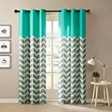Intelligent Design Alex Chevron Curtains for Living, Modern Contemporary Grommet Room Darkening Bedroom, Geometric Window, 42X63, 2-Panel Pack, 42x84, Aqua
