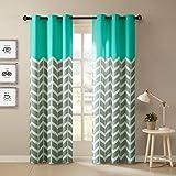 Intelligent Design Alex Chevron Curtains for Living, Modern Contemporary Grommet Room Darkening Bedroom, Geometric Window, 42X63, 2-Panel Pack, Aqua