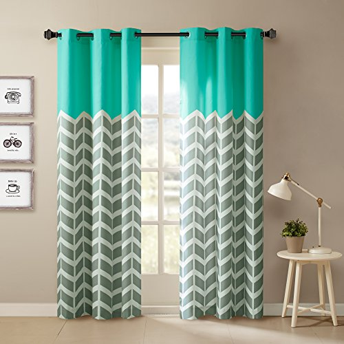 Intelligent Design Alex Chevron Curtains for Living, Modern Contemporary Grommet Room Darkening Bedroom, Geometric Window, 42X63, 2-Panel Pack, 42x84, Aqua