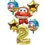 Wgxssjc Globo Súper Alas Juguetes Fiesta de cumpleaños de 32 Pulgadas niños Número Decoraciones 6pcs 3D Súper Alas Globo Globos Jett (Color : Gold 2)