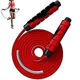 Cuerda para Saltar, Cuerda para Saltar de Fitness Cuerda de Velocidad de Algodón Ponderada, Longitud Ajustable para Hombres, Mujeres y Adultos, Entrenamiento de Resistencia, Fitness en Casa (Rojo)