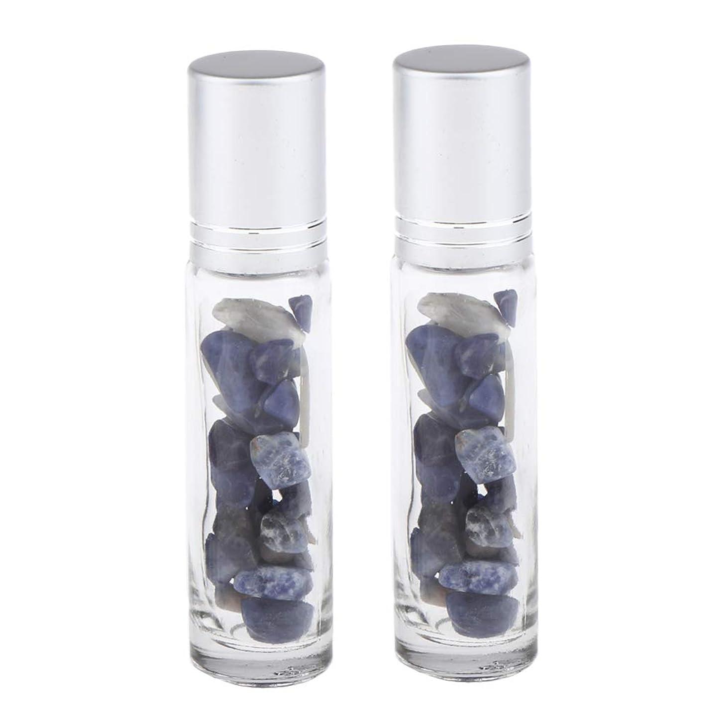 東ティモールアラームアジア人chiwanji 香水アトマイザー ガラスボトル 精油瓶 天然石 ロールオンボトル 10ml マッサージ 全10種類 - 青い縞模様