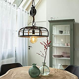 QAZQA Lámpara colgante industrial acero negro - Camelot Acero/Cuerda Redonda Adecuado para LED Max. 1 x 60 Watt