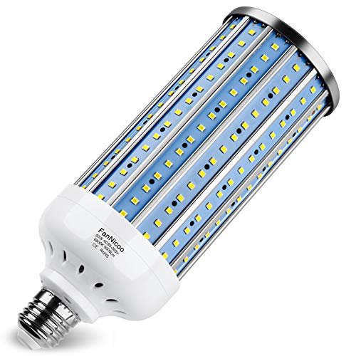 350W Equivalent LED Corn Light Bulb 5000 Lumen 6500k 50W Large Area Cool Daylight White E26/E27 Medium Base for Outdoor Indoor Garage Warehouse Factory Workshop Street Backyard New Upgraded