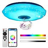 baklon Lámpara De Techo Led Con Altavoz Bluetooth, 56W Moderna Luz De Dormitorio Integrada En El Techo, Bocina Bluetooth | Función de Despertador | Múltiples Modos Techo Para Baño, Cocina, Pasillo