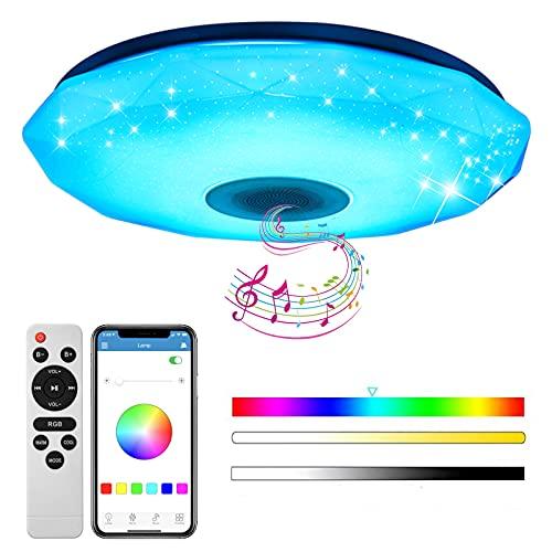 baklon Lámpara De Techo Led Con Altavoz Bluetooth, 56W Moderna Luz De Dormitorio Integrada En El Techo, Bocina Bluetooth   Función de Despertador   Múltiples Modos Techo Para Baño, Cocina, Pasillo