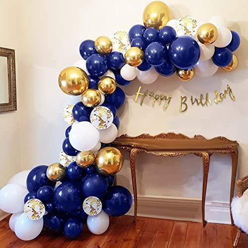 Palloncini Kit Ghirlanda Arco, Palloncini Blu Bianchi, Oro Metalli Palloncini Oro Coriandoli Palloncini per Compleanno, Baby Shower, Sfondo di Matrimonio e Decorazioni per Feste Riutilizzabile