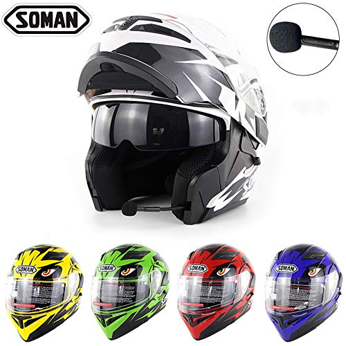 Wansheng Casco Moto Moto Bluetooth Integrato Modulare Flip Up Full Face Casco Moto D.O.T Certificazione Double Mirror MP3 Chiamata HD,White,S55cm~56cm