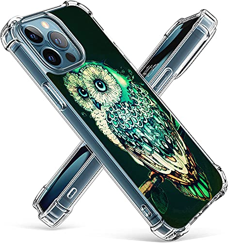Owl Case for iPhone 13 Pro,Gifun Hard PC+TPU Bumper Clear Protective Case Compatible with iPhone 13 Pro 6.1' 2021 - Green Owl