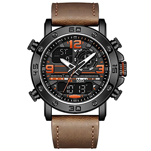 WNGJ Reloj de Cuarzo de Moda Multifuncional de Deportes al Aire Libre Impermeable a Prueba de Agua, Reloj Especial para Hombre, Regalo para Padre o Amigo Coffee