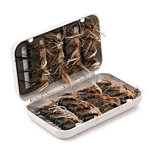 JVSISM 32 Piezas Juego De Se?uelos De Pesca con Mosca Aparejo con Caja Estuche Insecto Mariposa Cebos Artificiales De Pesca para Trucha Bajo con Ganchos De Acero Al Carbono Color 3#