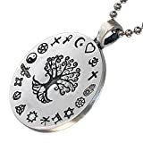 Coexist Pagan Jewelry Yggdrasil Tree of life Respect all religion and Faith Love World's Peace Protection Amulet Pewter Men's Women's Pendant Necklace Charm For men women Silver Ball Chain