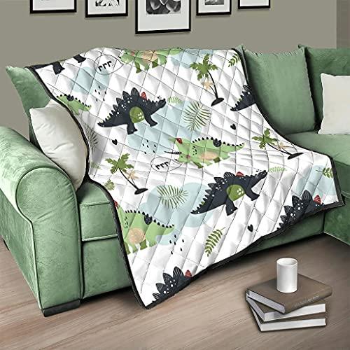 Flowerhome Edredón de dinosaurio y árbol, para cama o sofá, para dormir, para adultos y niños, color blanco, 150 x 200 cm