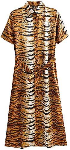 DRESSES Tijgerprint lange jurk vrouwen revers kraag strik sjerpen dier patroon - - M