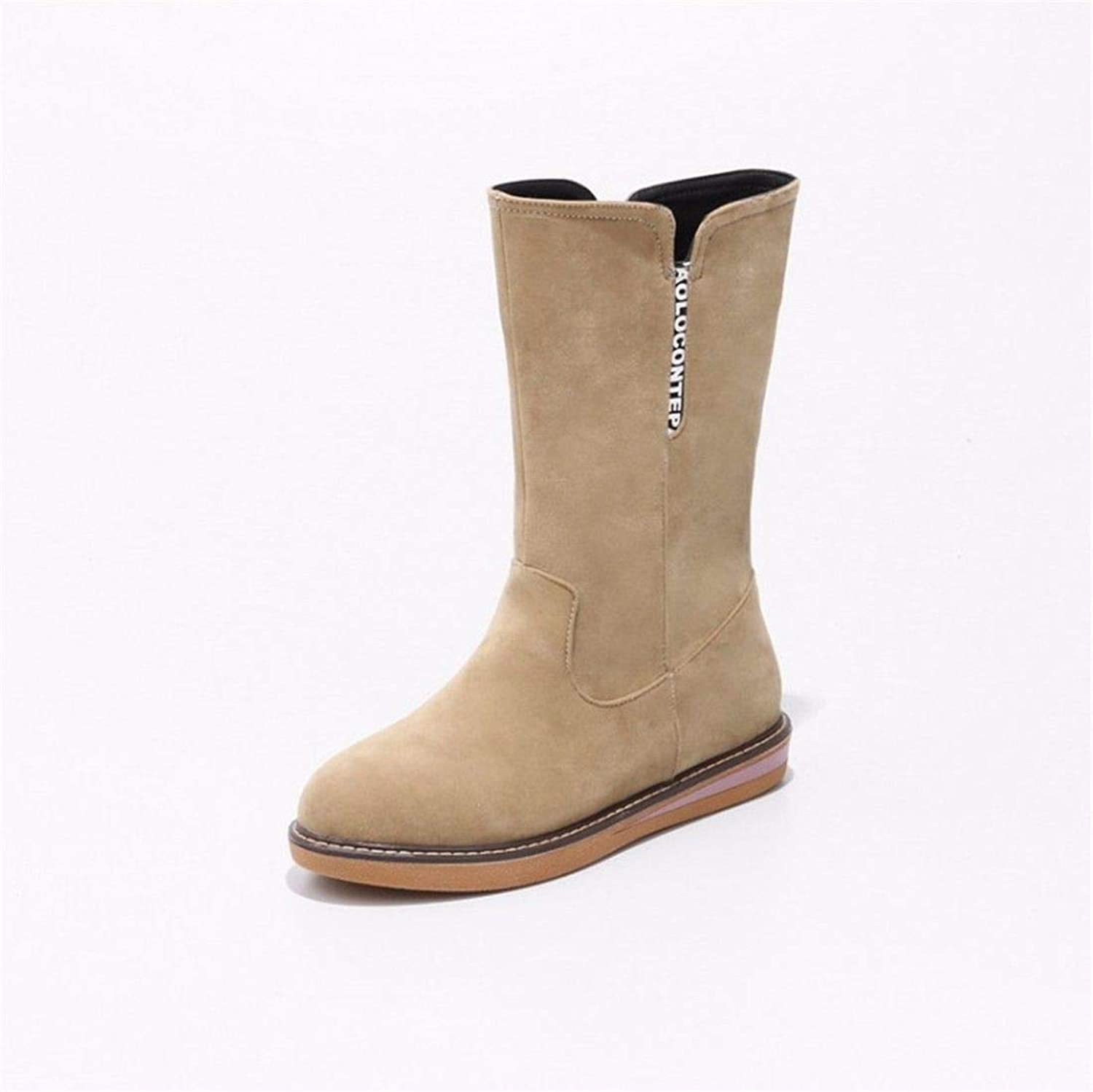 Autumn and Winter Sweet Round Head Low Heel Big Size Snow Boots