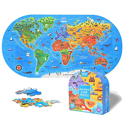 Mideer 100Pcs World Map Jigsaw Puzzles for Kids Ages 4-8,Floor Puzzles for Kids Ages 3-5,Toddler Puzzle for Children,Premium Geography Educational Toys Box,Pre School Learning Games for Boys and Girls