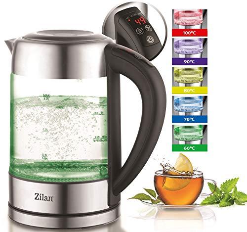 Glas Wasserkocher 1,7 Liter | 100% BPA FREI | 2200 Watt | LED Beleuchtung im Farbwechsel | Edelstahl mit Temperaturwahl | Teekocher | Warmhaltefunktion | Temperatureinstellung (60°C-100°C)