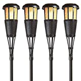 Newhouse Lighting FLTORCH4-B Solar-Powered Flickering Flame Outdoor Island Torches, 4-Pack, Dark Chocolate